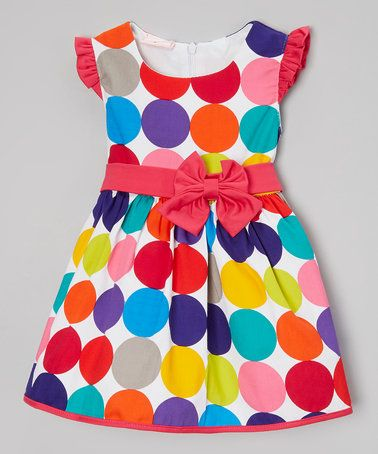 Loving this Rainbow Polka Dot Belted Cap-Sleeve Dress - Infant & Toddler on #zulily! #zulilyfinds