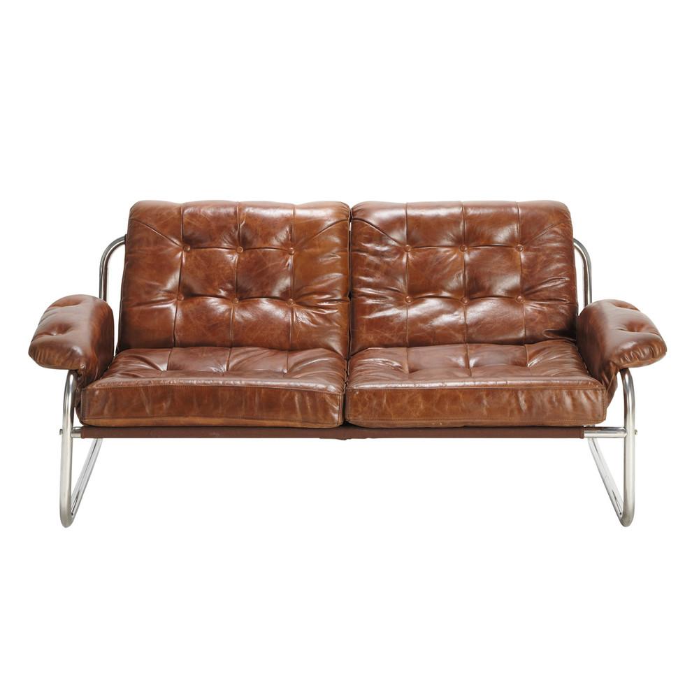 2 Sitzer Vintage Polsterbank Aus Leder Braun Gary Fundstucke