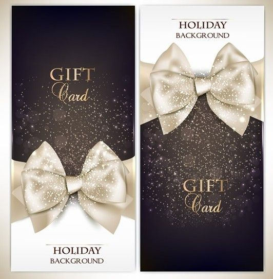 Free Vector Fantastic Gift Cards With Ribbon Bows 02 Titanui Cards And Invitations Gift Card Christmas Gift Background