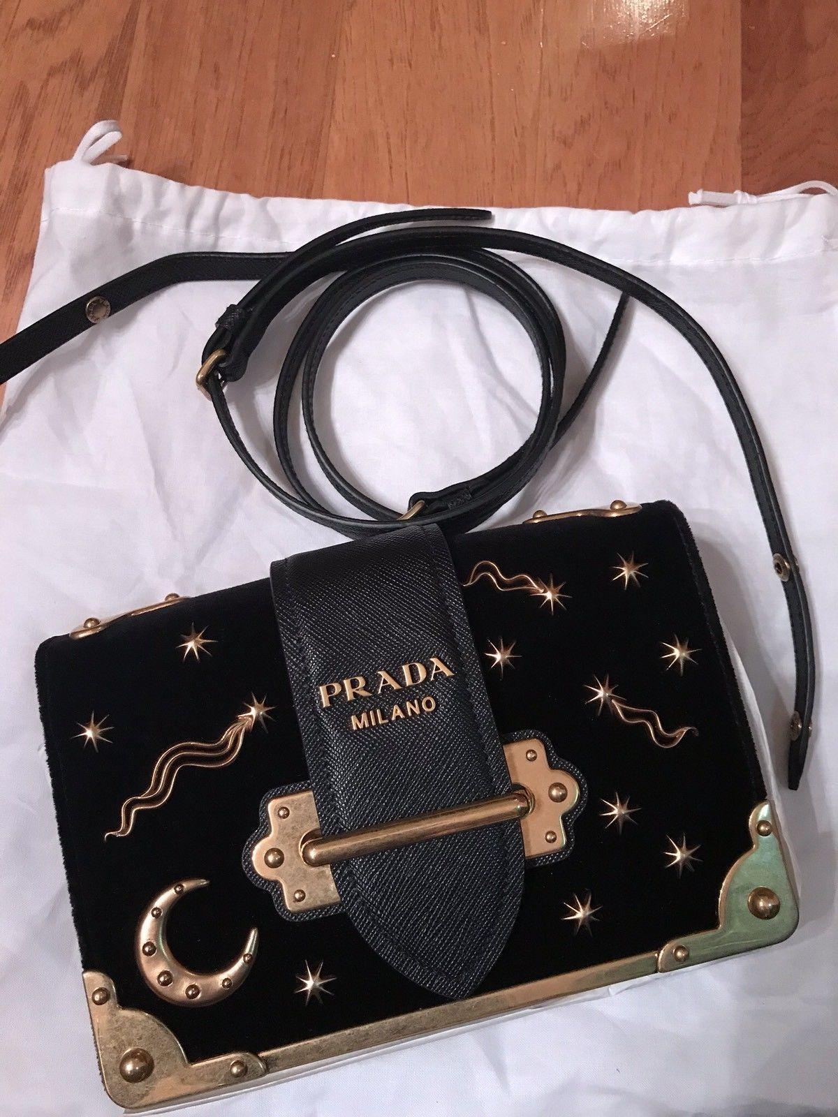 d4b884905413 cheapest prada cahier black velvet clutch cross body bag astronomy 299e6  965be