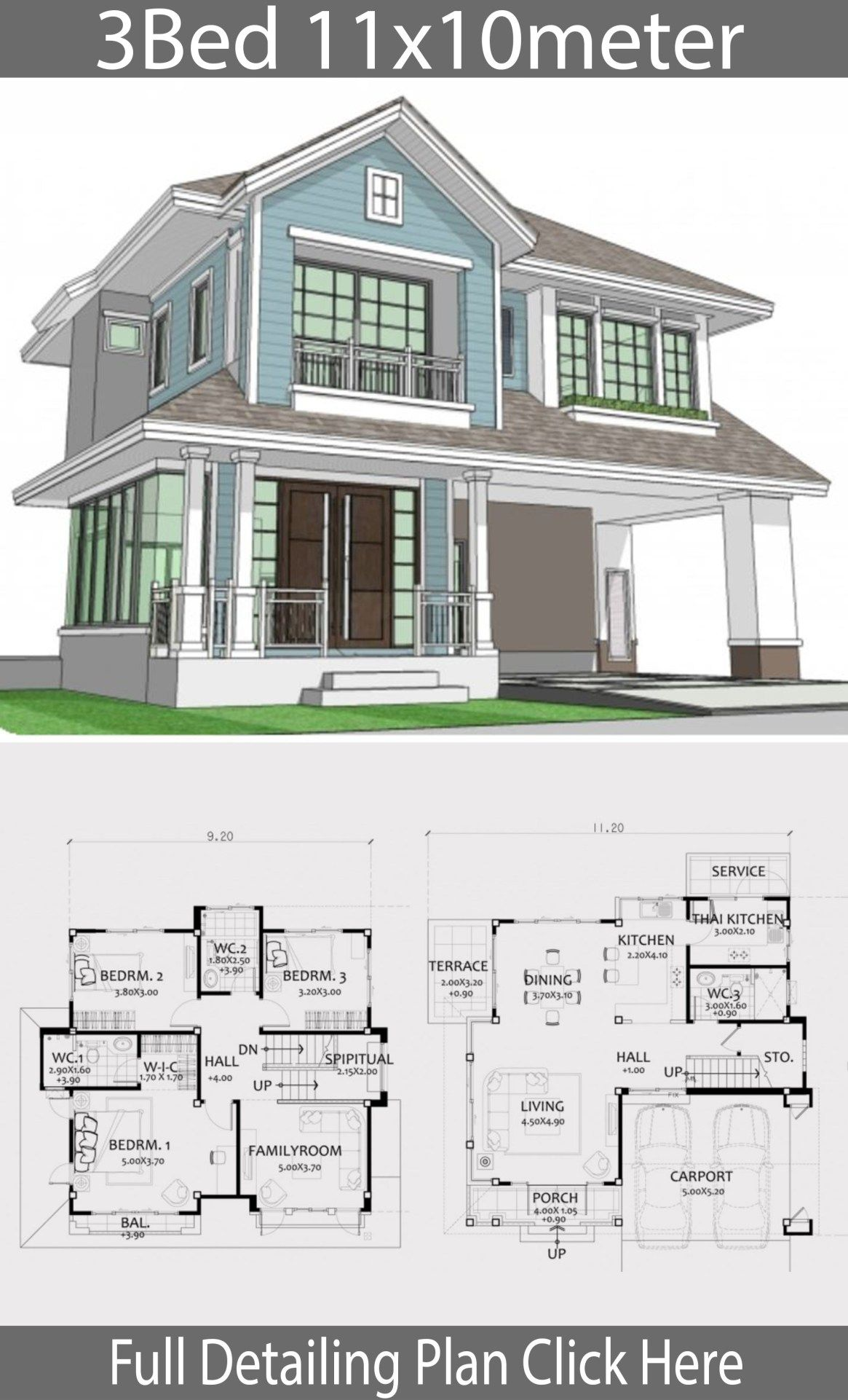 Home Design Plan 11x10meters With 3 Bedrooms Home Design With Plansearch Home Design Plan House Architecture Design House Design