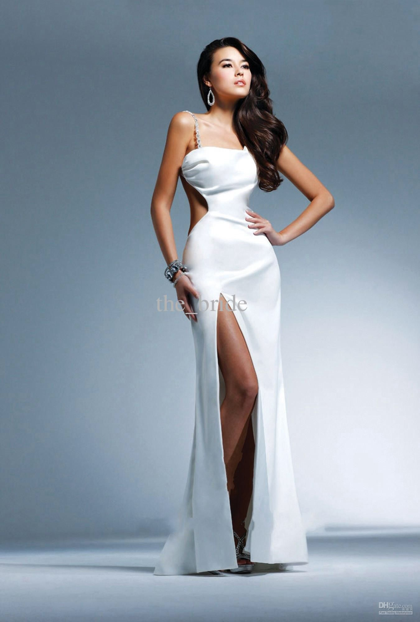 White side cut out prom dress   Prom Dress   Pinterest