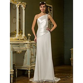 Sheath/Column One Shoulder Sweep/Brush Train Chiffon And Stretch Satin Wedding Dress (710765)