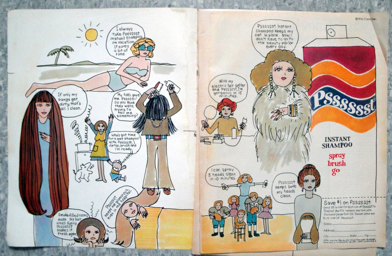 1970 Psssssst Instant ShampooCartoonishOriginal 2 Page