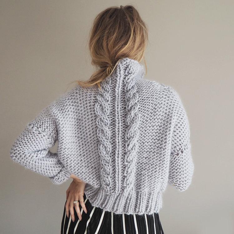 Knit Kit Cropped Cable Knit Jumper Lauren Aston Designs In 2020 Jumper Knitting Pattern Cable Knit Jumper Jumper Patterns