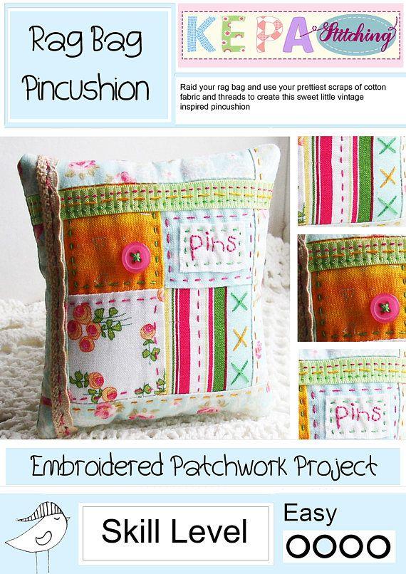 Patchwork Pincushion Pattern Embroidered Pincushion Pattern