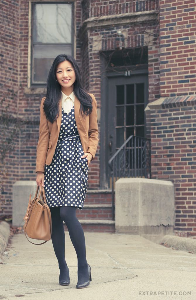 8af4afe84 Camel and polka dots, and the versatility of navy tights // Professional  Style @ Levo (via Extra Petite Blog)