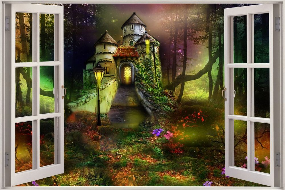huge 3d window childrens fairytale castle view wall on wall stickers painting id=33208