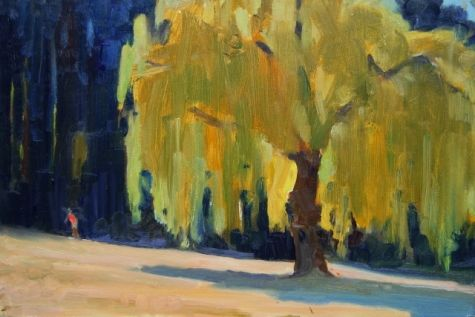 Backlit Willow Plein air painting with Jim Lamb, Juanita Bay Park, Kirkland, painting by artist Robin Weiss