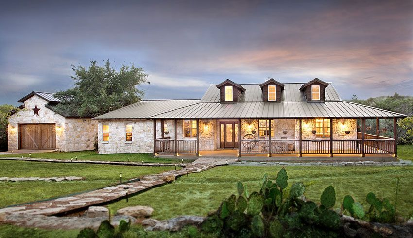 Texas style homes on pinterest hill country homes for Texas ranch house plans with porches