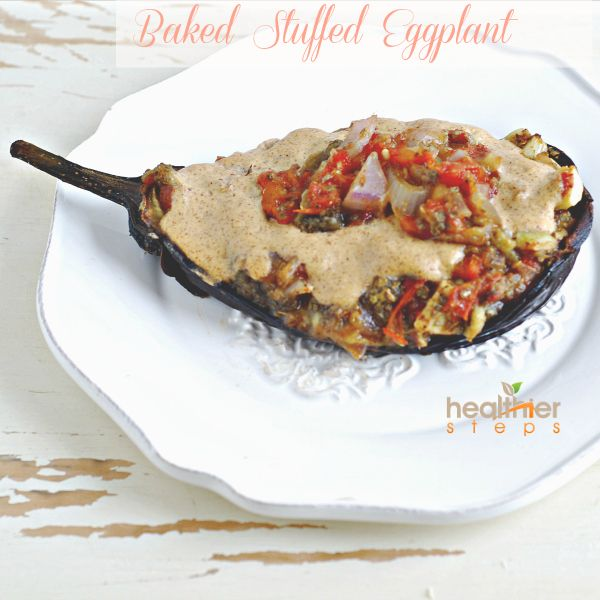 Baked Stuffed Eggplant (Vegan, Gluten Free) | Gluten Free and Vegan Recipes by Michelle Blackwood