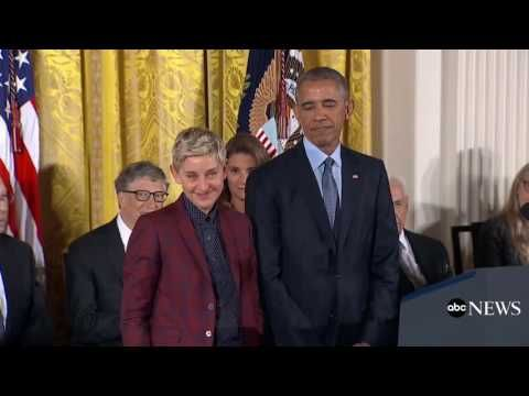 Ellen Gets Emotional After Receiving Medal Of Freedom Ellen Degeneres African Blogger Emotions