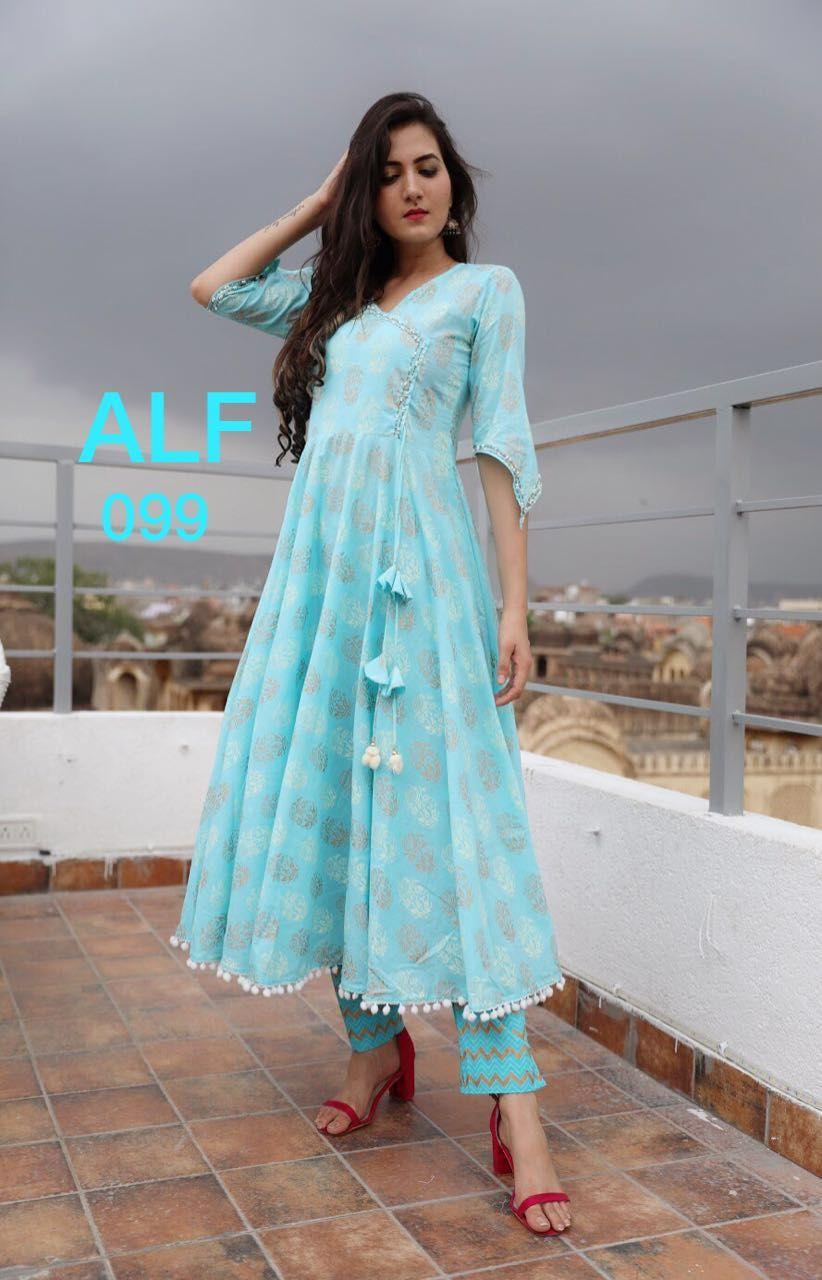 Indian Cotton Palazzo Kurta Printed Long Straight Kurti Pent Beautiful Dress