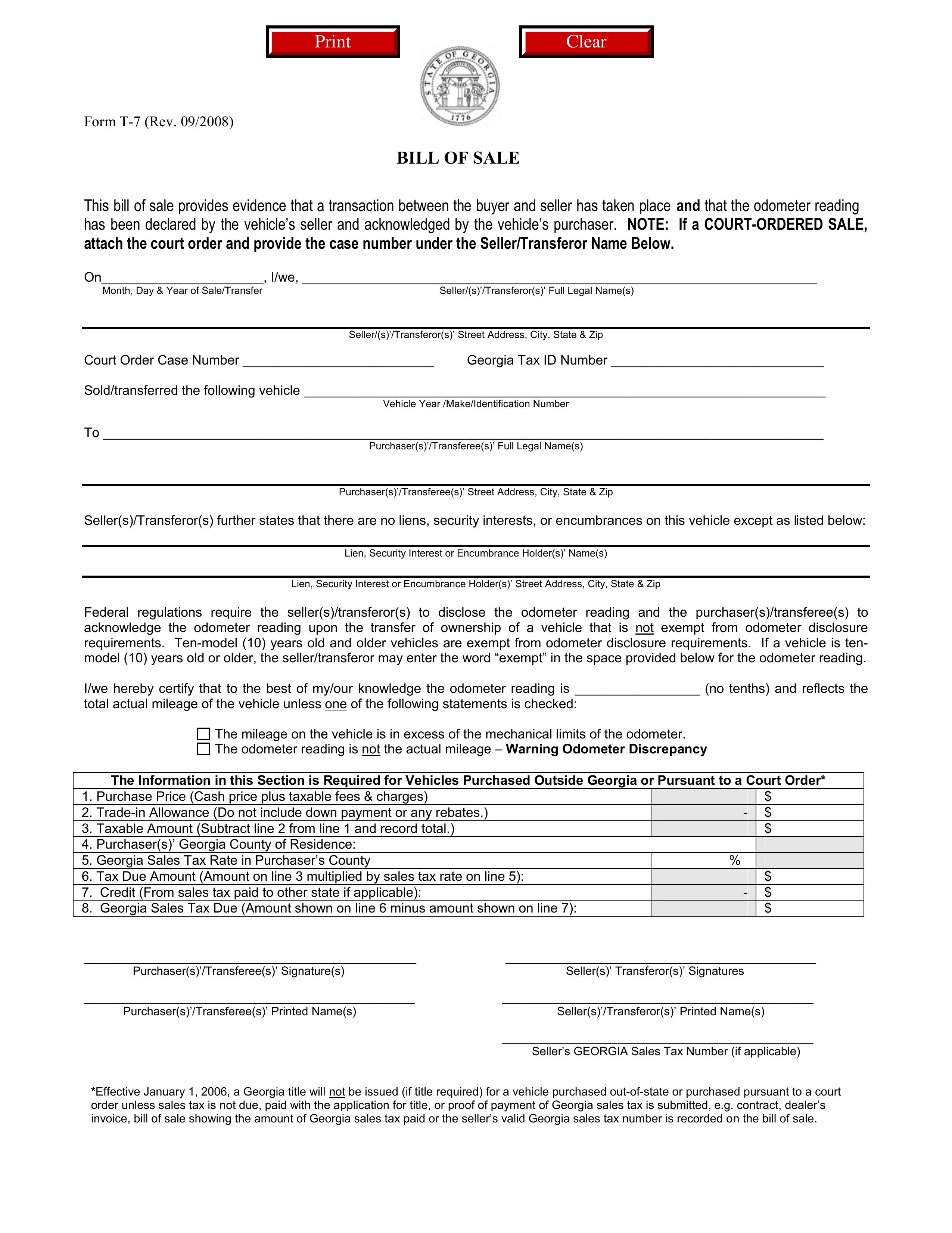 Sample Of Bill Of Sale Free Printable Documents Bill Of Sale Template Legal Forms Bill Of Sale Car