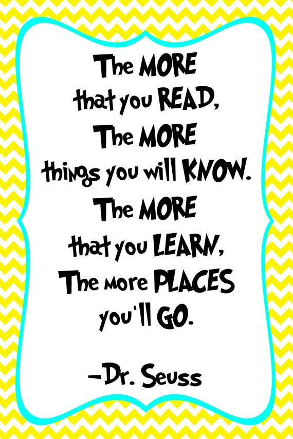 Reading Quotes For Kids Drseuss Quote Print  Classroom Poster Or Nursery Print  Digital .