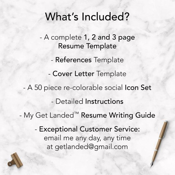 Professional Resume Template for Word  Pages The Kennedy - Instant