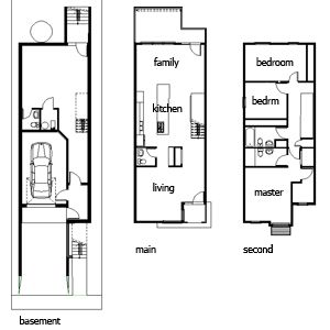 Narrow houses google search narrow house interiors for Narrow width house plans