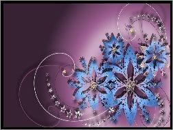 Grafika, Niebieskie, Kwiaty
