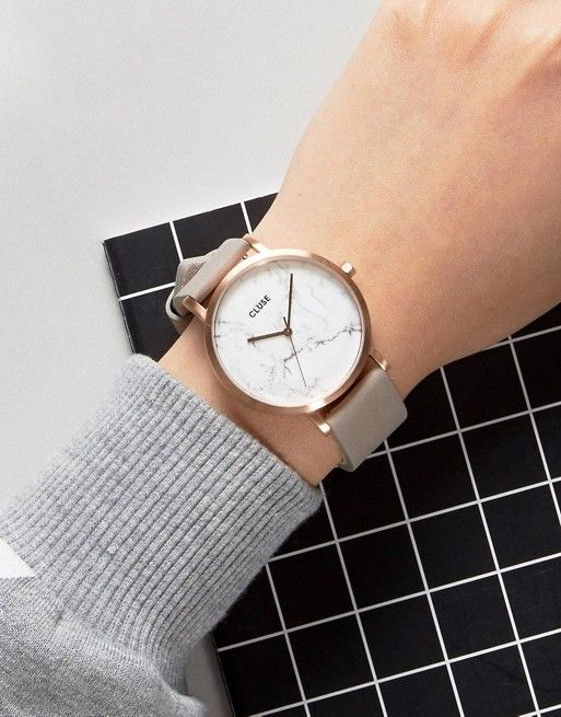Cluse   CLUSE La Roche Rose Gold White Marble  amp  Grey Leather Watch  CL40005 Mode 5dddb891b0fe