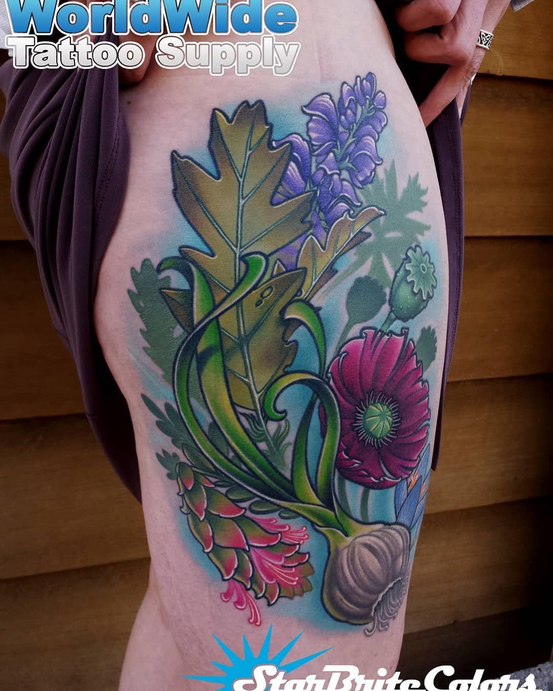 Flower Tattoo On Thigh With A Garlic Bulb By Ct Tattoo Artist