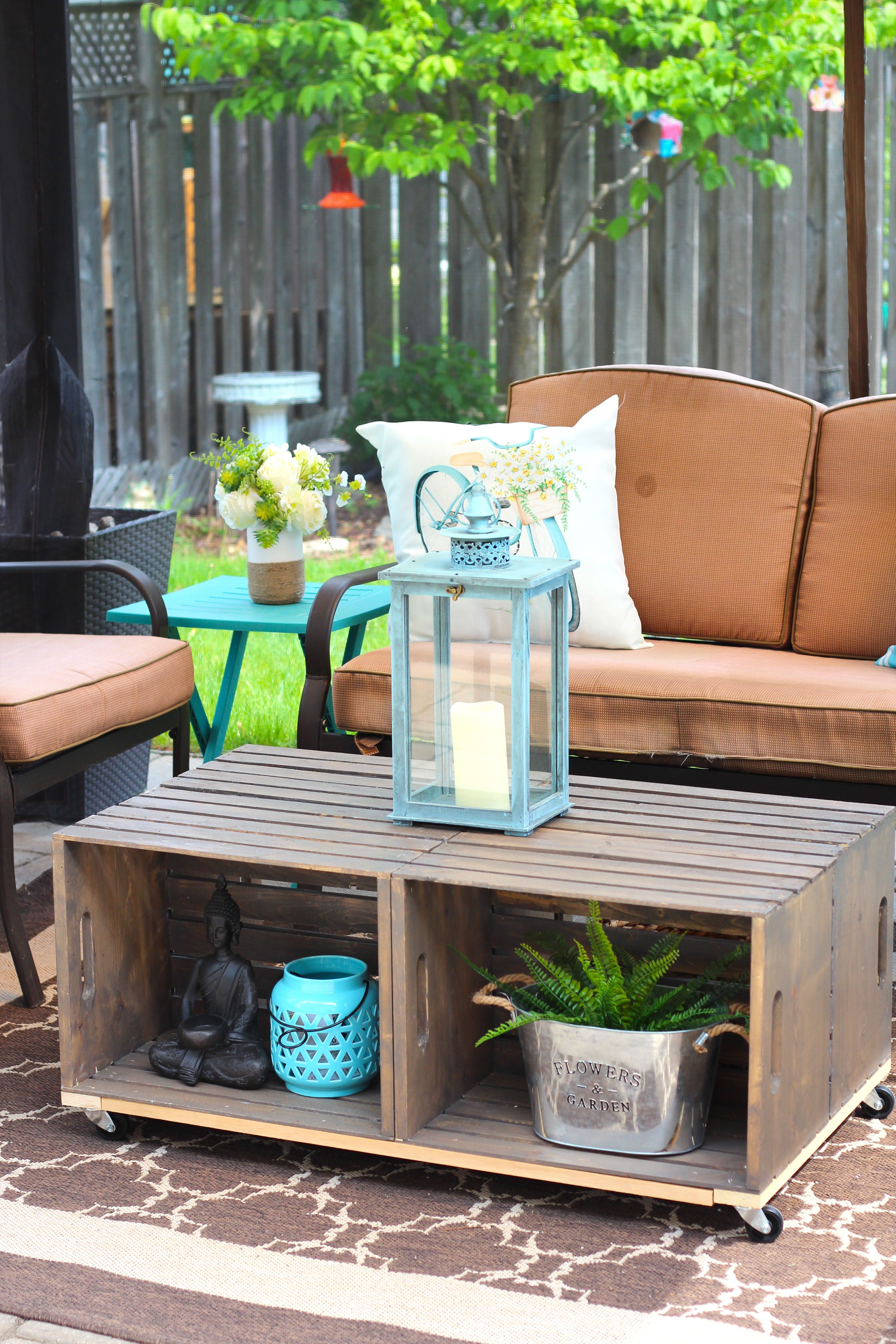 Diy outdoor crate coffee table with wheels rustic