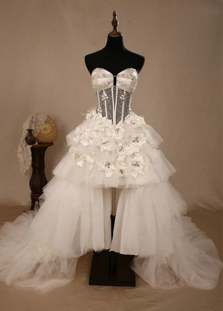 Luxury Full Flower Backless Wedding Dresses,High Low Beach Wedding Dress,Ivory Fashion Chapel Train Wedding Dress
