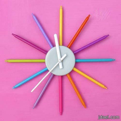 حرف يدويه خطوات عمل ساعة حائط باقلام الفلوماستر بالصور منتدى جدايل Diy Clock Wall Colorful Wall Clocks Diy Clock