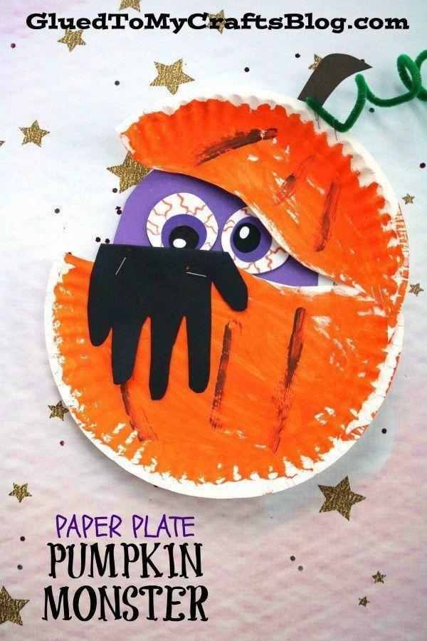 Paper Plate Peeking Pumpkin Monster - Halloween Kid Craft Idea #gluedtomycrafts #preschoolcraftideas