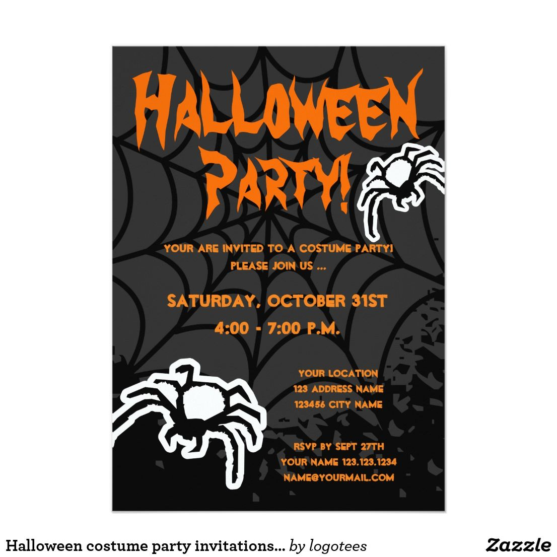 Halloween party invitation template with spiders. Black and orange ...