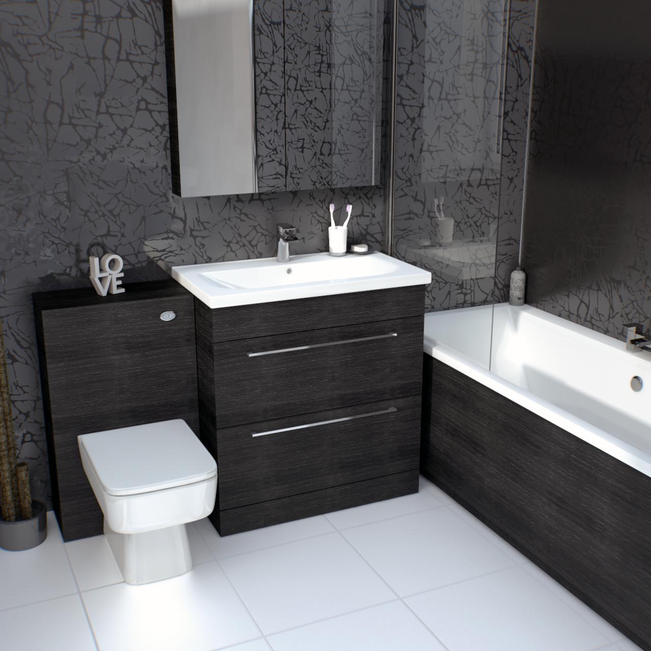 Napoli Black Oak 1700mm Front Bath Panel Black Bathroom Toilet Suites Bath Panel