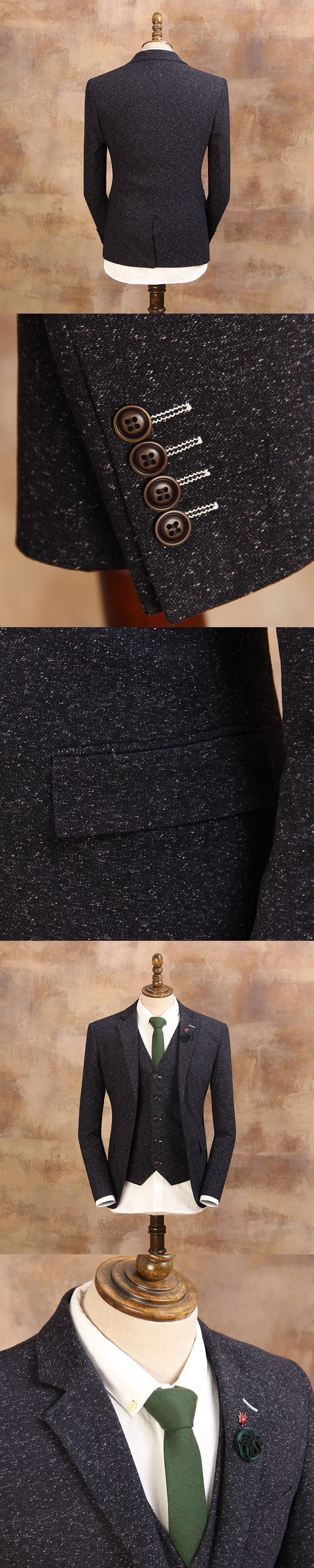 new menus blue fashion vintage thick slim single breasted suit