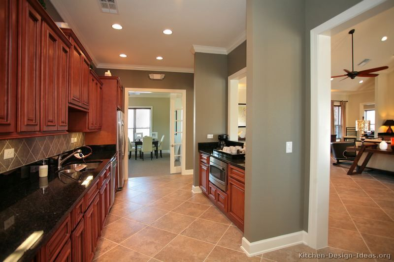 Cherry And Gray Paint For Kitchen Walls Cherry Wood Kitchens Cherry Cabinets Kitchen