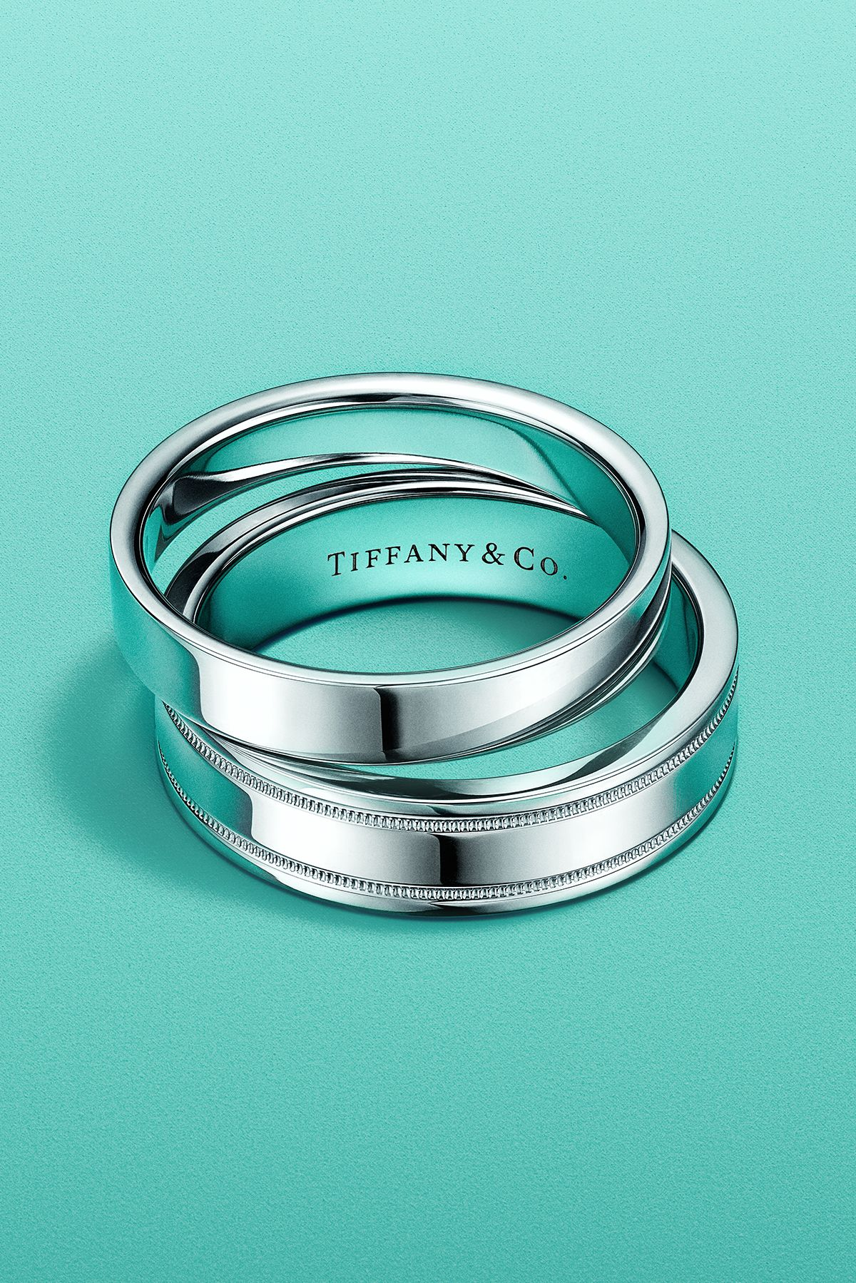 Tiffany Classic And Tiffany Flat Band Rings In Platinum Tiffany Wedding Rings Tiffany And Co Necklace Blue Wedding Rings