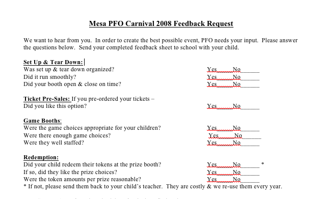 Printable Survey To Get Feedback On Your Fall Carnival Event From