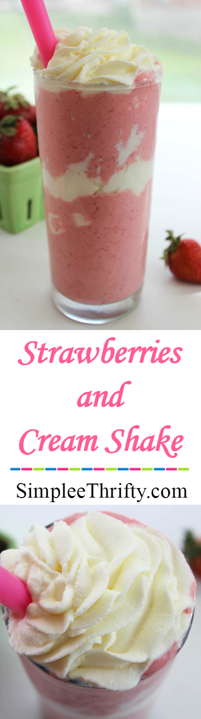 Quick puree fresh strawberry recipe creates a delicious cream Strawberries and Cream Shake! You will be sure to enjoy this. Makes a great treat the whole family can enjoy!