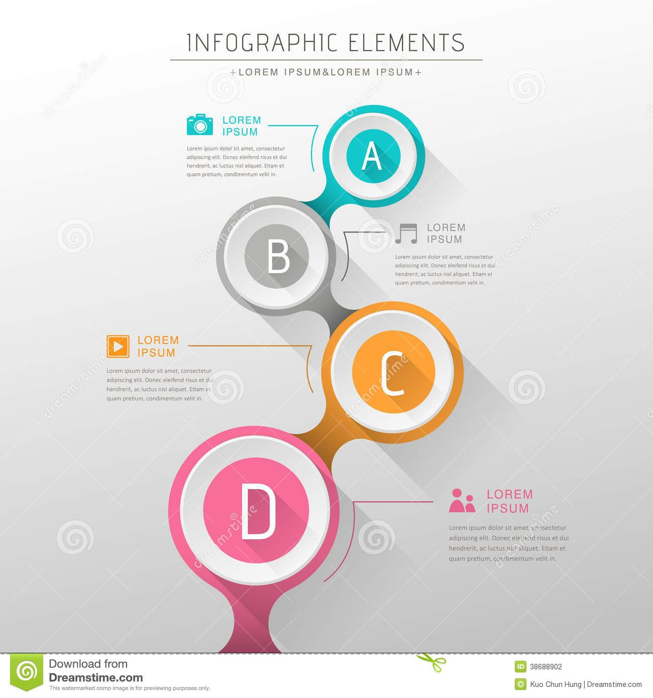 flat design vector abstract flow chart infographic elements Chart