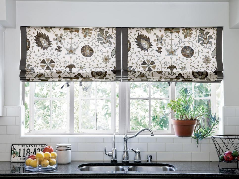 10 stylish kitchen window treatment ideas flats fabric for Fabric shades for kitchen windows