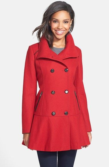 a18cfe83779a5 Free shipping and returns on GUESS Skirted Wool Blend Coat at Nordstrom.com.  Peacoat styling takes a turn for the feminine with a waist-nipped  silhouette ...