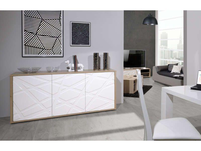Bahut 3 portes GRAPHIK coloris chêne blanc - Conforama Conforama