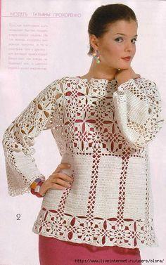 Örgü Bayan Bluzu Uzun Kol Model Yapılışı ve Şeması #crochetsweaterpatternwomen