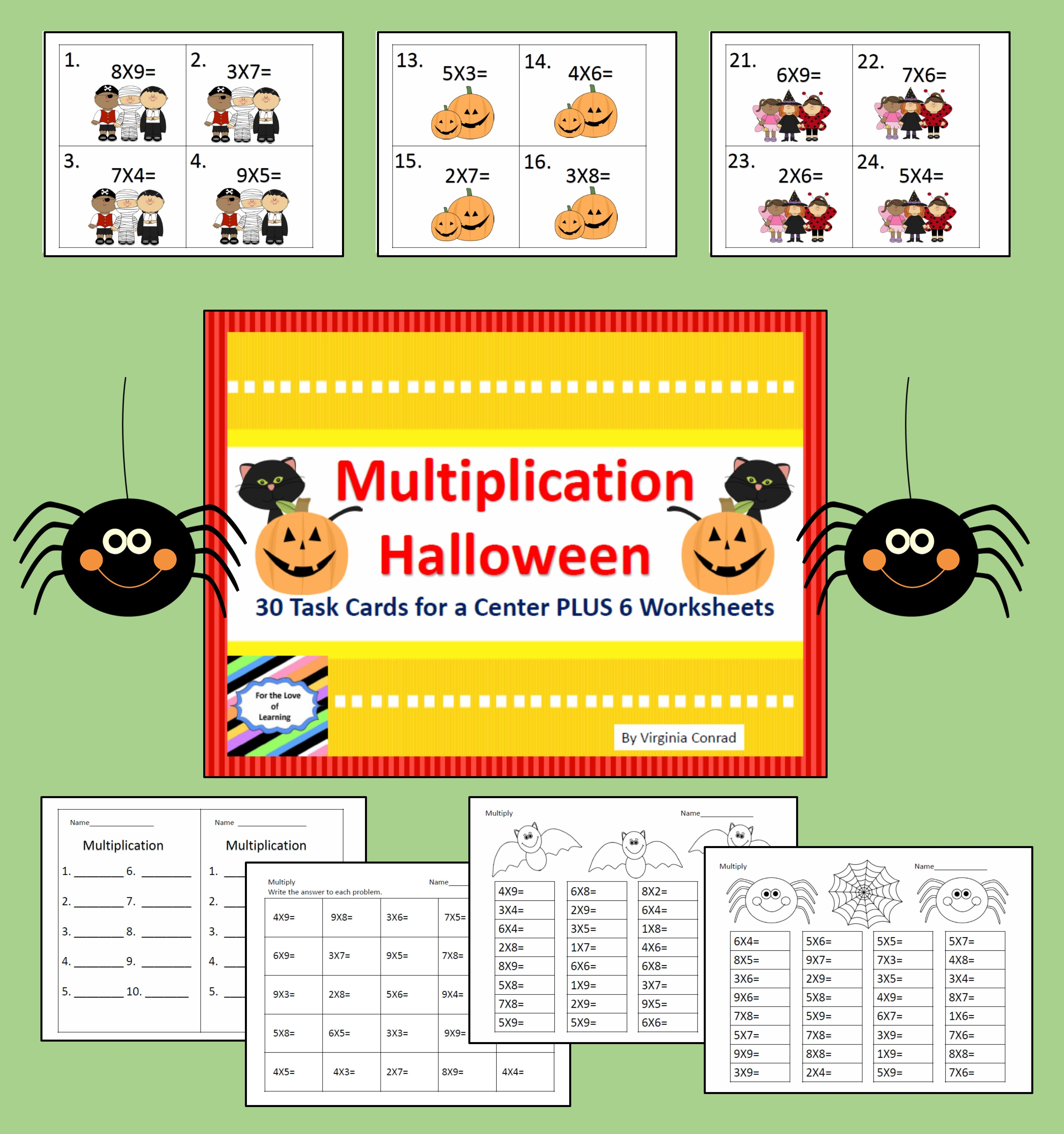 Multiplication 1 Digit X 1 Digit Halloween