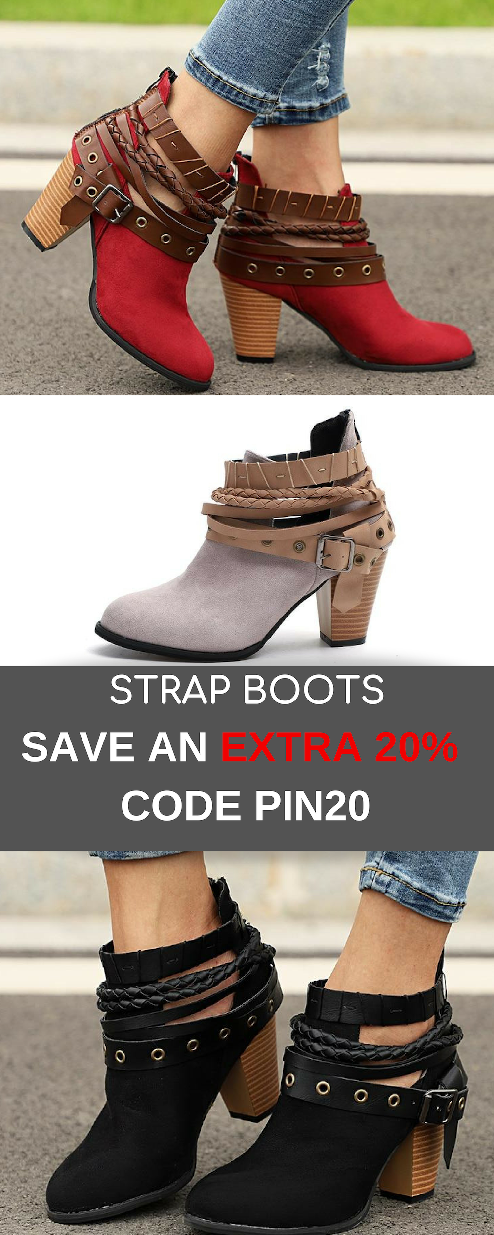99e807a8b Beautiful versatile women s strap boots with buckle. Now save an extra 20%  off on