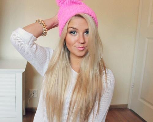 long blonde hair pink hat
