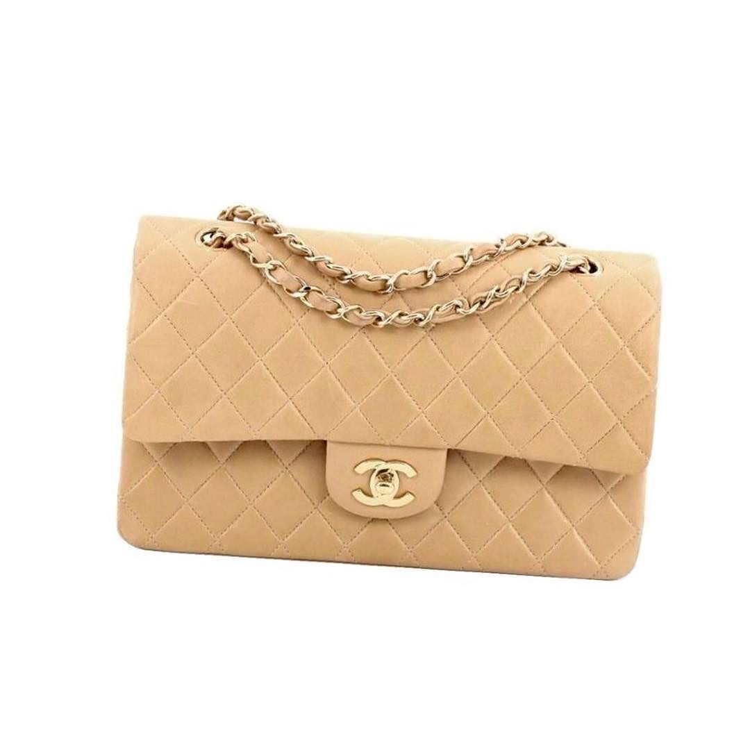 75ee2f443901 Chanel beige lambskin double flap 25 full set with box dustbag ID card  asking $2140 comment for more information or to purchase this item