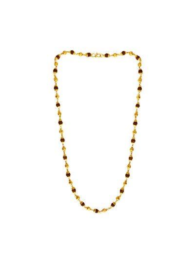 06352a4da83d MENJEWELL LORD SHIVA RUDRAKSHA BROWN GOLD PLATED CAPS WITH RUDRAKSHA   GOLD  PLATED BEADS RUDRAKSHA MALA  NECKLACE FOR MEN   WOMEN(25 INCH) rudraksha  mala ...