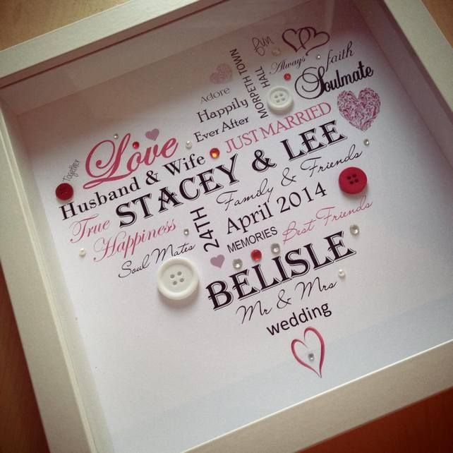 Heart Wedding Box Frame Picture (personalised with your words) www ...