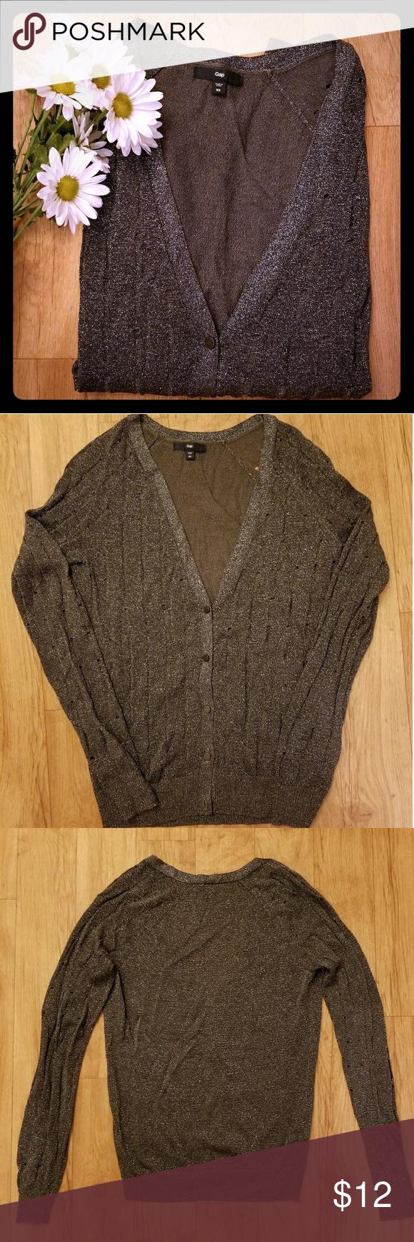 Gap Sheer and shimmering grey and silver cardigan | Dark grey ...