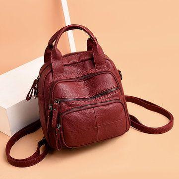 05f60763419f Women PU Soft Multi-function Bags Leisure Handbags Large Capacity Backpack  is designer