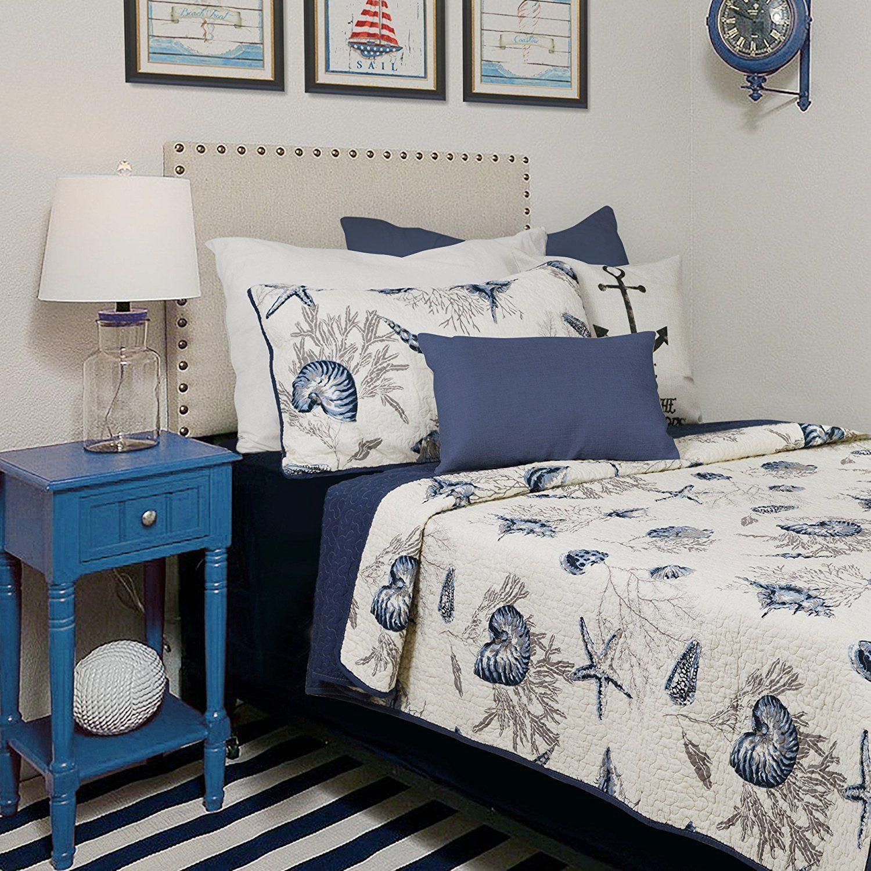 Brandream Beach Themed Bedding Sets Ocean Comforter Sets Lightweight Quilt Set Twin Size Summer Q Nautical Bedding Sets Kids Twin Bedding Sets Nautical Bedding