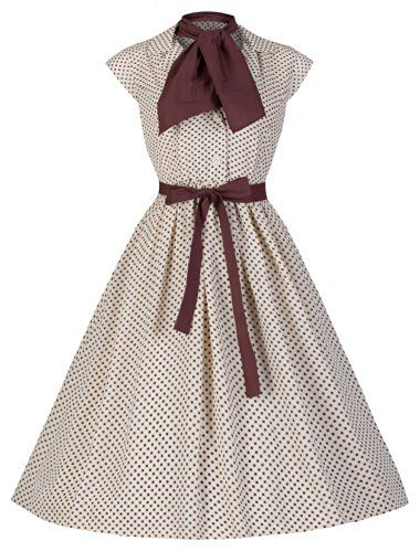 Lindy Bop  Penny  Vintage 1950 s Hepburn Style Chiffon Polka Dot Shirt  Dress (Cream 0fe2604d053